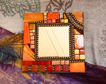 Mosaic Mirror, Accent Mirror, Wall Art, Orange, Yellow, Gold, Red, Silver, Wall Hanging
