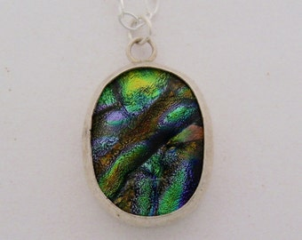 Dichroic necklace. Dichroic pendant. Dichroic glass.