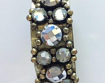 Brass and Rhinestone Cuff Bracelet - Statement Bracelet - Glitzy Glamour Cuff