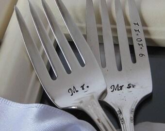 Vintage Upcycled Mr. & Mrs. Wedding or Anniversary Silverplated Hand Stamped Cake Dessert Fork Set