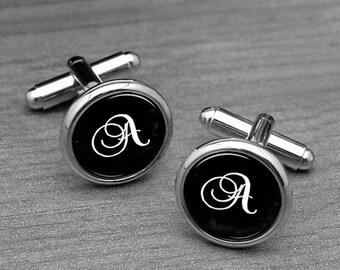 Initial Cufflinks, Personalized cufflinks, Custom wedding cuff links, customizable cufflinks , Wedding Party Jewelry, Silver Tie clips