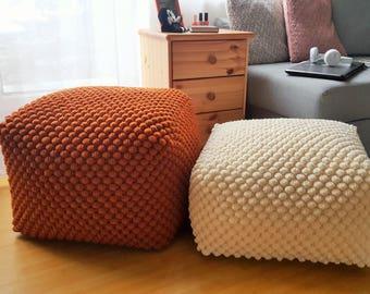 Crochet copper/dark orange white/light cream Stuffed wool ottoman / Crochet white pouf-ottoman / Knit footstool / Nursery pouf
