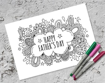 Father's Day Colouring Page & Folded Card | Instant Digital Download | Original Doodle Design