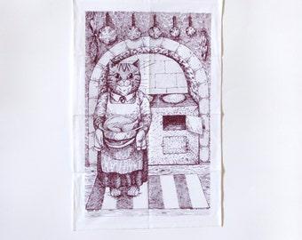 Kitchen cat tea towel burgundy old fashioned kitchen screenprinted
