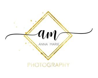 Photography gold logo design, dots watermark, gold dots logo, polka dots Logo, glitter photography logo design, square gold logo monogram