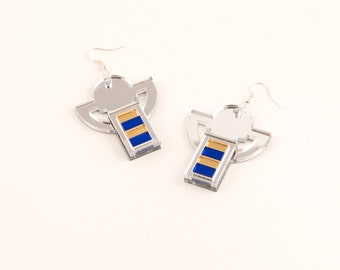 Geometric Perspex Statement Earrings - Silver, Gold, Blue FORM_006