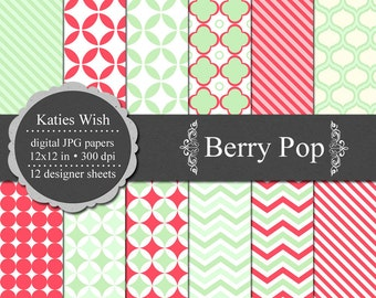 Instant Download Berry Pop Digital Paper Commercial Use Kit 12x12 inch jpgs for invites, scrapbooking, web design