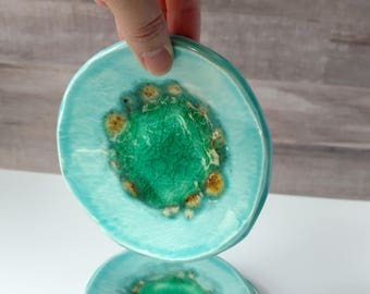 Geode Ring dish, Green and Blue, catch all, soap dish, small plate, trinket dish gift. Melted teal glass pool. Wedding ring holder.