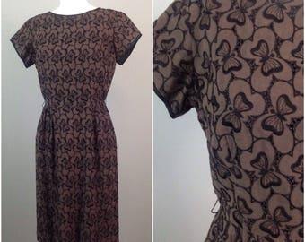 Vintage 1960s Brown & Black Semi Sheer Butterfly Eyelet Wiggle Dress / Women's Medium / Novelty Embroidery Dress Rockabilly