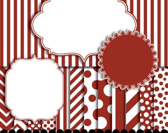 Red digital paper frame pack, frame clip art red, Chevron paper, polka dot paper, stripe paper scrapbooking : p0176 3s0450 IP