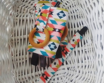 Baby Carrier Strap Covers w/ Teething Rings - Drool Pads - Suck Pads - Tribal, Aztec, Coral, Teal, Organic, Black
