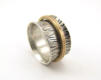 Prairie Grass sterling silver and brass spinner ring - made to order