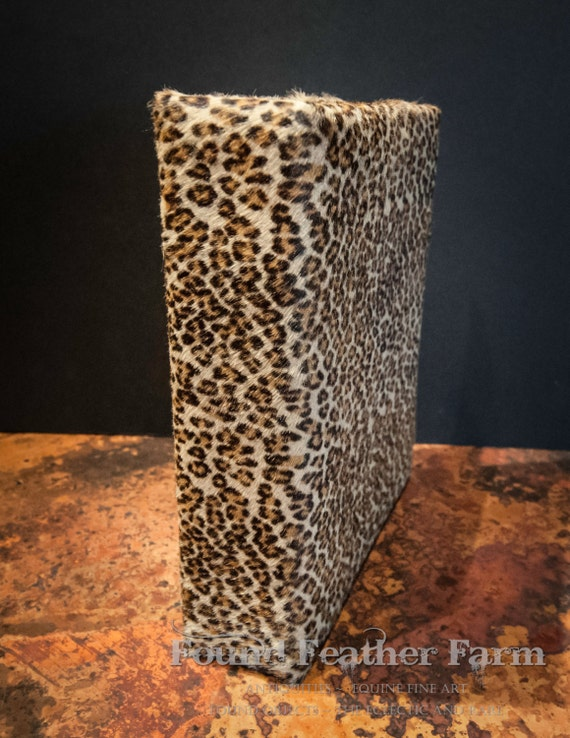 Stenciled Mini Leopard Hair on Hide Cow Skin Three Ring Binder