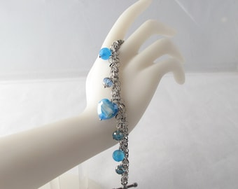 Blue Hearts Charm Bracelet with Toggle Clasp