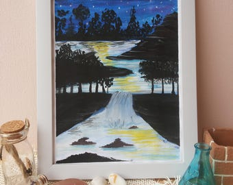 Under The Moon Light Water Color Painting