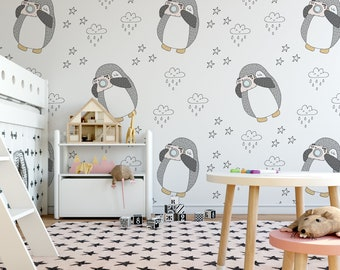 Penguin With a Camera, Kids Wall Mural (Self-Adhesive), Kids Wallpaper, Kids Mural