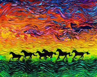 Wild Horses print sunset horse silhouette art by Aja 8x8, 10x10, 12x12, 20x20, and 24x24 choose size