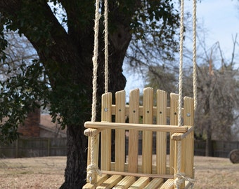 REGULAR SIZE PINE Kids Wooden Swing, Backyard Outdoor Toys, Toddler and Baby Swing, Tree Swing, Old Fashioned Handmade Children Toys