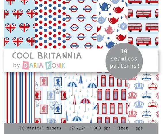 Cool Britannia Digital Paper Pack-Britain England Union