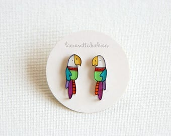 Parrot earrings, bird stud earring, colorful illustrated jewelry