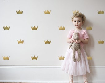 Wall Decals Princess Crowns Gold & Silver Metallic Vinyl Wall Stickers Peel and Stick