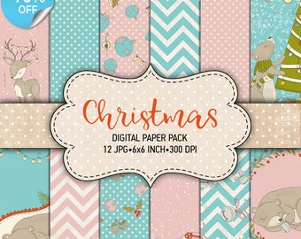 "75% OFF SALE Digital paper pack ""Christmas"" - Printable paper pack sheets 6x6 inch Digital Background Paper 15x15 Christmas scrapbook paper"