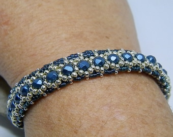 Blue Metallic and silver hand-woven bracelet