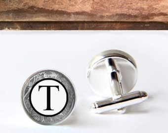 Custom Monogram Cufflinks, Personalized, Groom Cuff Links, Groomsmen