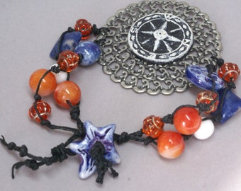 Compass Bracelet, Compass Jewelry, Orange Bracelet, Blue Bracelet, Celtic Handmade Wearable Art, Graduation Gift,  Multi Strand Bracelet
