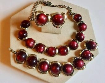 1960s cranberry lucite jewelry  parure
