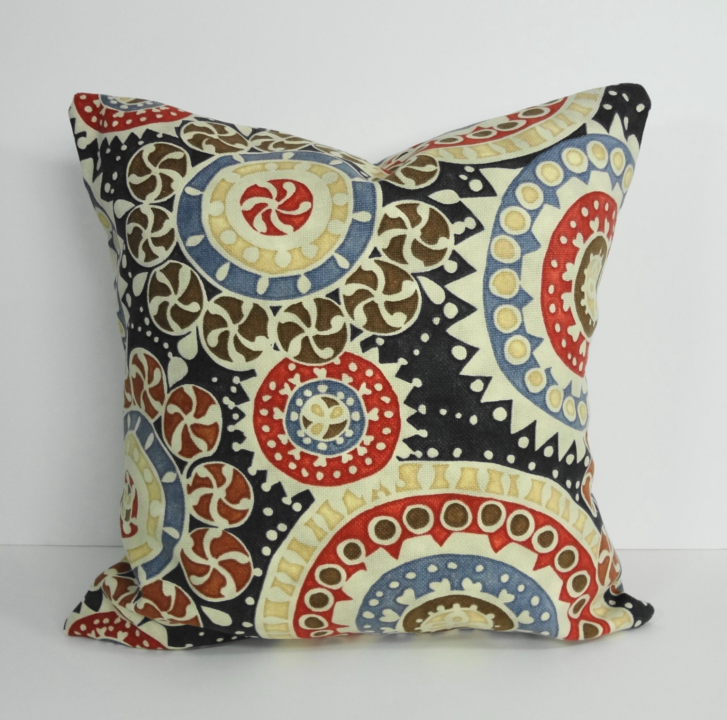 red blue brown decorative pillow cover geometric throw. Black Bedroom Furniture Sets. Home Design Ideas