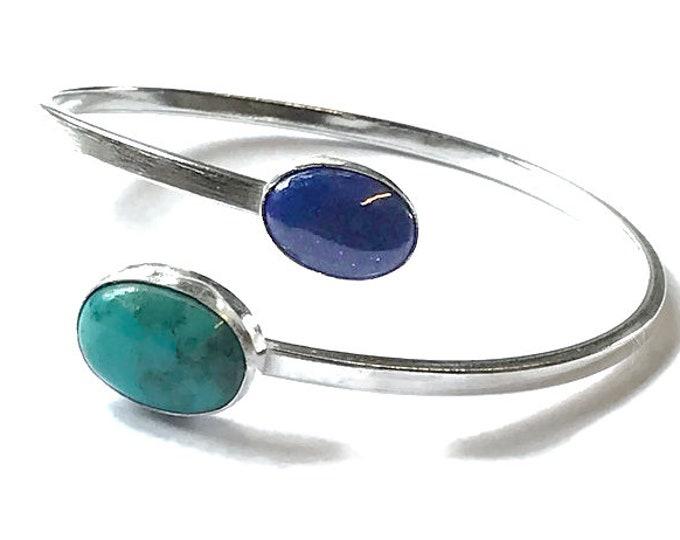 Lapis Lazuli & Turquoise Adjustable Bangle