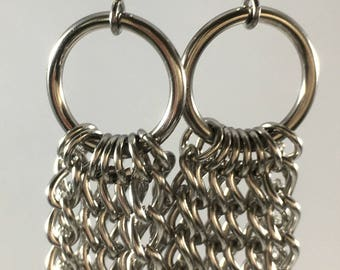 Tapered Chain Long Silver Chainmaille Earrings