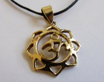 Dainty Om Ohm Aum brass Lotus design pendant On Wax Cord Yoga Jewellery Adjustable Unisex Free UK Shipping + Gift Bag CH3