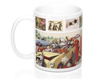 Vintage Cat Art Postcards Novelty Coffee Mug in 11 or 15 oz.
