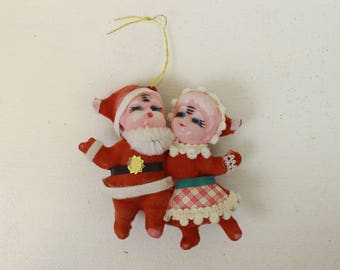 Santa and Mrs. Claus Ornament, Flocked Ornament, Red and White, Vintage Decoration