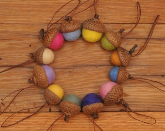 Felted Wool Acorn Ornaments in Spring Colors,  also available without hangers