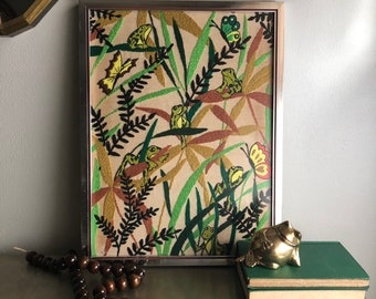 vintage framed crewel frogs jungle butterfly rainforest retro