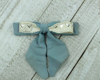 Slate blue Clip on Western Bowtie with metalic Trim - Shortie