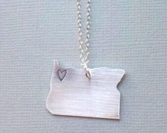 Handstamped Oregon Necklace / Sterling Silver Chain Handstamped