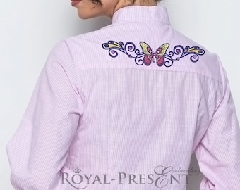 Butterfly border Tattoo-style Machine Embroidery Design - 4 sizes