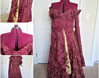 Cersei Red Gown; Game Of Thrones Cosplay; Off The Shoulder Gown; Houppelande Gown; Cersei Lannister Gown; Queen Gown; Princess Dress;Cosplay
