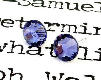 Tanzanite purple Swarovski stud earrings, 7mm medium purple crystal posts, sparkly bridesmaid earrings, lilac, periwinkle wedding