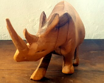 Natural Hand Carved Wood Rhino Nature Nomad Tribal Folk Art