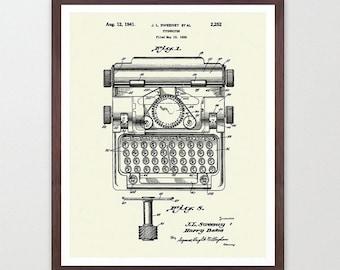 Typewriter - Typewriter Poster - Typewriter Print - Writers - Typewriter Patent - Literary Poster - Writing Poster - Novel - Typewriter Art