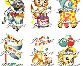 Vintage Digital Download Happy Birthday Animals Kawaii Vintage Image Collage Large PNG