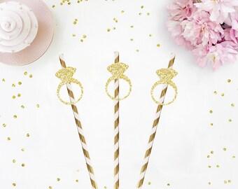 Gold Glitter Ring Straws - wedding straws, engagement party straws, bridal shower straws, bachelorette party straws, wedding straws, hen do