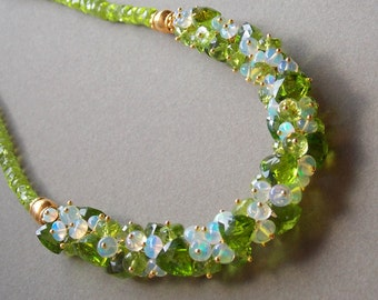 Peridot Gemstone Necklace Ethiopian Opal Gemstone Cluster Necklace with 24k Gold Vermeil October Birthstone-Made to Order
