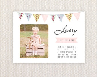 Photo Birthday Party Invitations. Shabby Chic Bunting. I Customize, You Print.