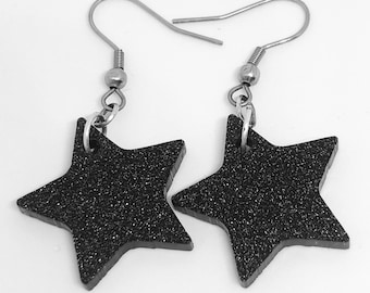 Black Glitter Star Earrings